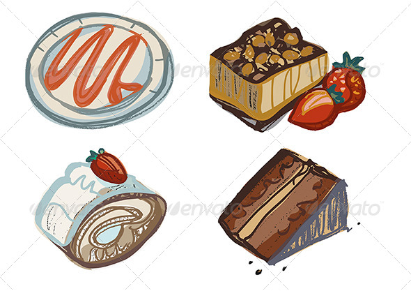 Chocolate and Strawberry Cake Slices, Plate - Food Objects