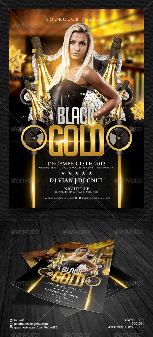 Black Gold Flyer Template - Events Flyers