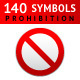 140 Prohibited Symbols - GraphicRiver Item for Sale