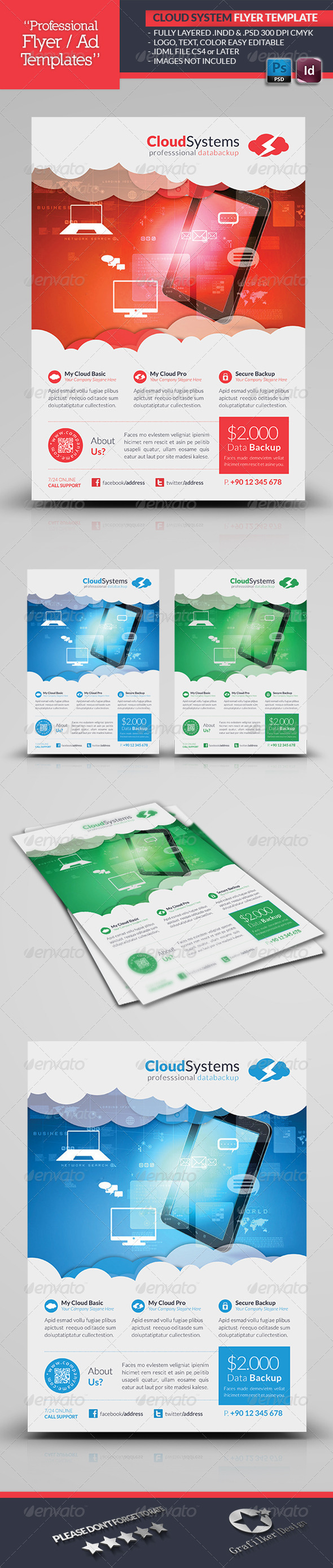 Cloud Systems Flyer Template - Corporate Flyers