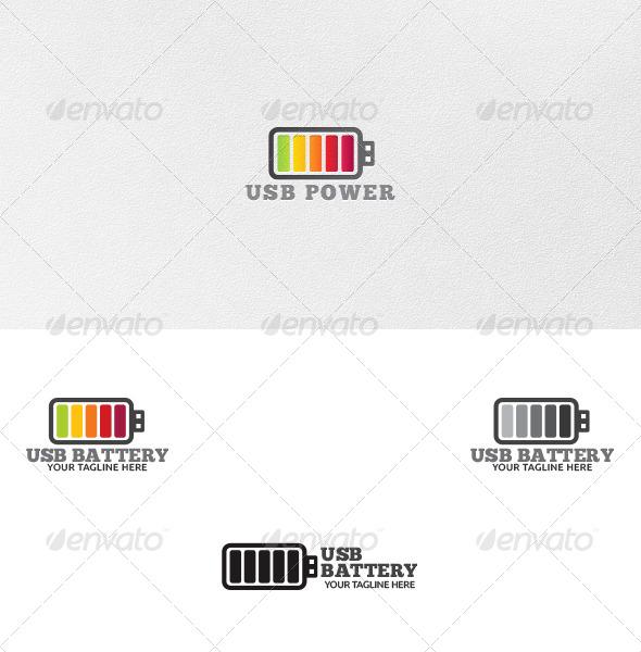 USB Battery - Logo Template - Vector Abstract