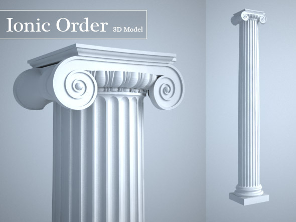 Grecian Ionic Order Column High LOD model - 3DOcean Item for Sale