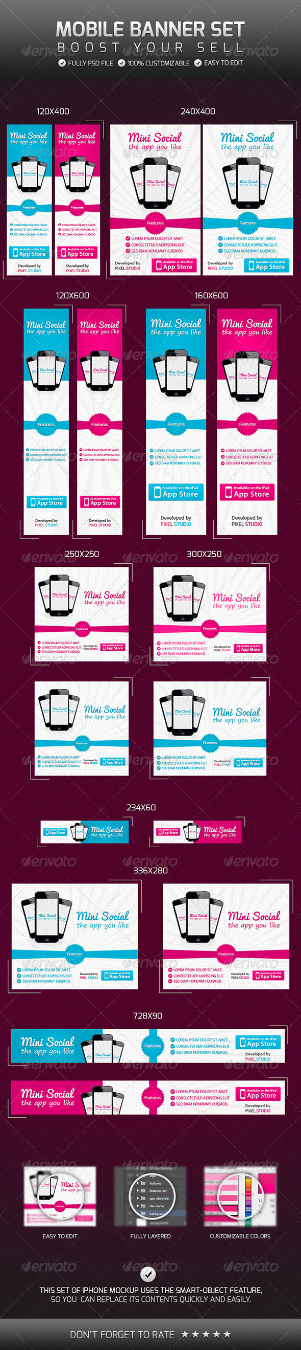 Mobile Banner Set - Banners & Ads Web Elements