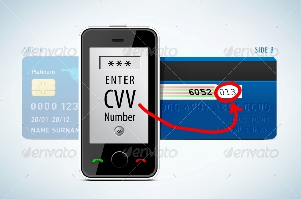 Credit Card, CVV Code with Mobile Phone - Retail Commercial / Shopping