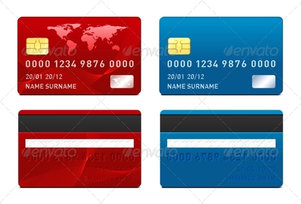 Vector Credit Card Template By Sermax GraphicRiver - Blank visa credit card template