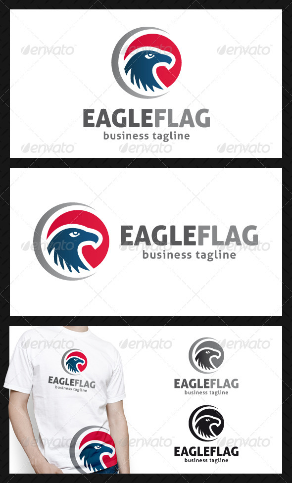 Eagle Flag Logo Template - Animals Logo Templates