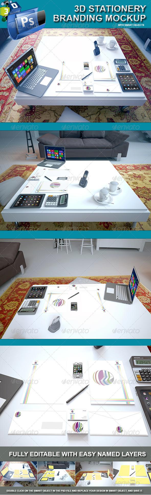 3d Stationery Branding Mockup - Living Room Scene - Stationery Print
