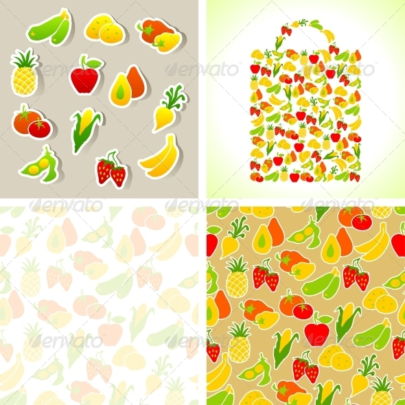 Set of Fruit and Vegetables Stickers and Patterns. - Food Objects