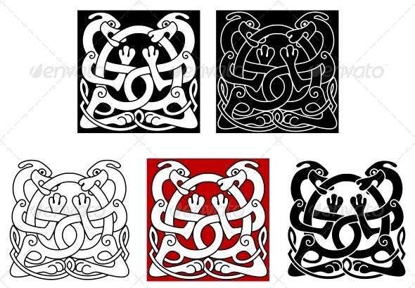 Dogs with Celtic Ornament - Decorative Symbols Decorative