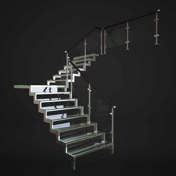Glass Stairs - 3DOcean Item for Sale