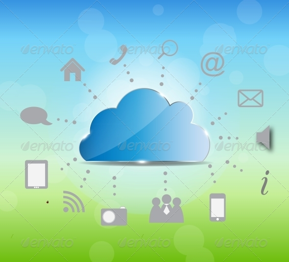 Cloud Computing Vector Illustration on Nature Back - Backgrounds Business
