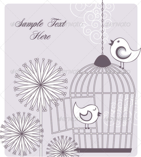 Birds and Birdcage - Animals Characters