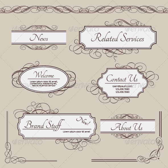 Set of Vintage Vector Labels, Frames, Borders by kostins | GraphicRiver