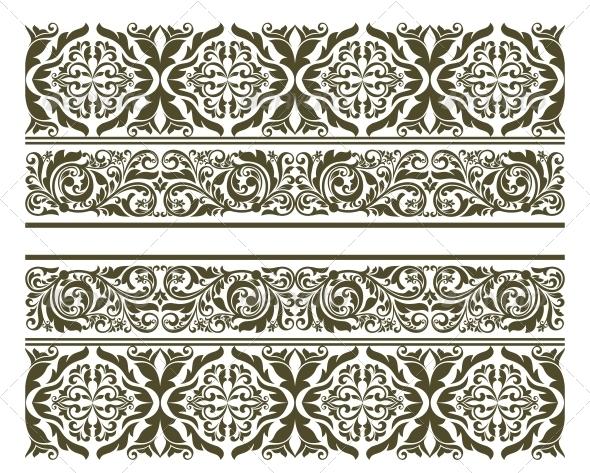 Retro Ornament in Floral Style - Borders Decorative