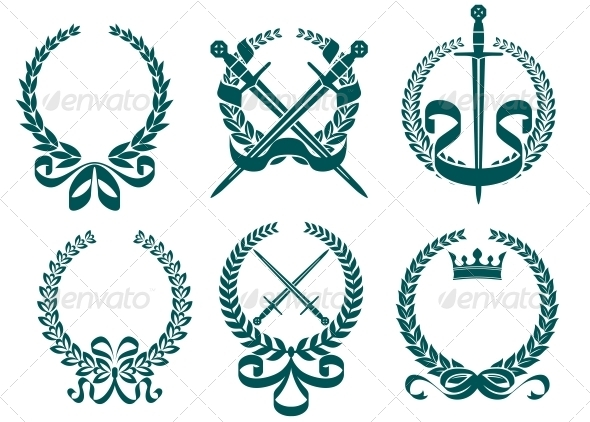 Laurel Wreathes with Heraldry Elements - Decorative Symbols Decorative