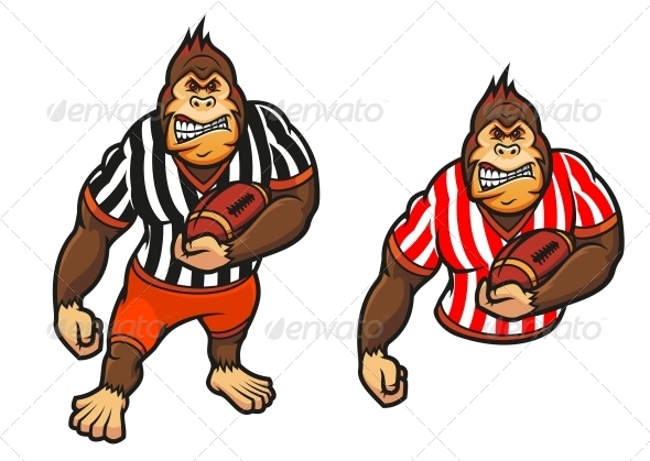 Gorilla Player with Rugby Ball - Sports/Activity Conceptual
