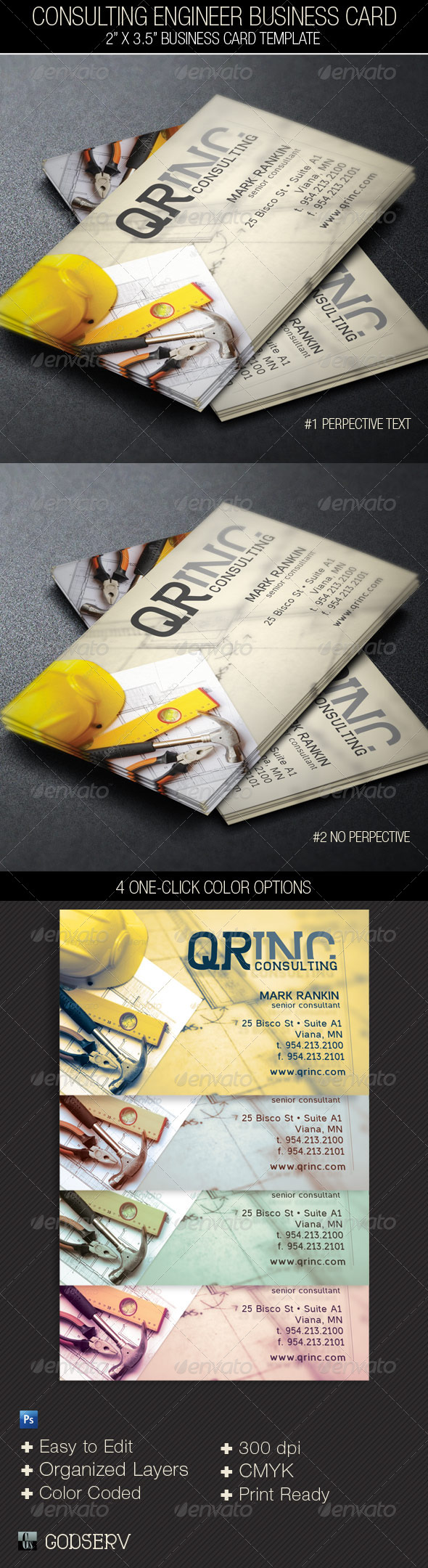 Consulting Engineer Business Card Template - Industry Specific Business Cards