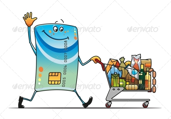 Credit Card with Shopping Cart - Retail Commercial / Shopping