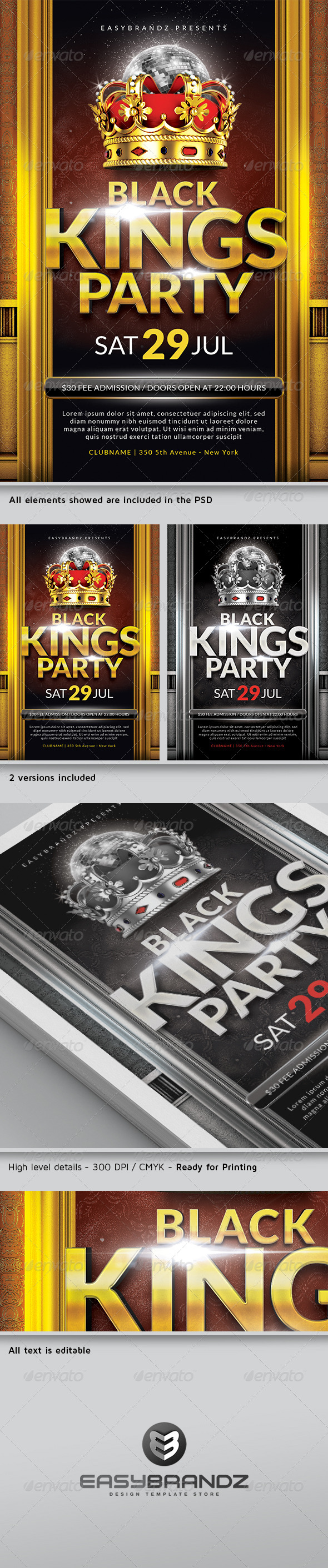 Black Kings Flyer Template - Events Flyers