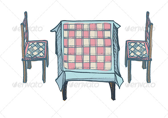 Kitchen Table, Two Chairs with Chequered Pattern - Man-made Objects Objects