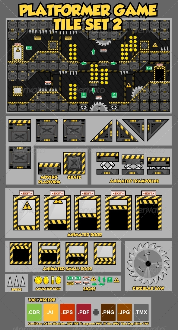 Platformer Game Tile Set 2 - Tilesets Game Assets