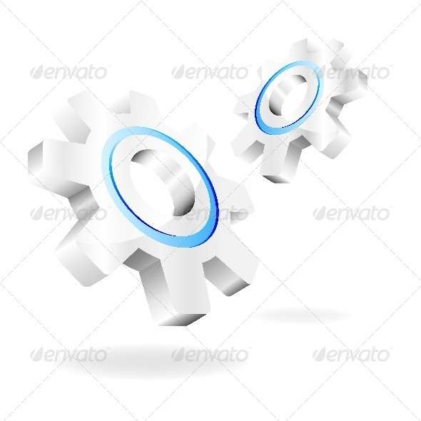 Vector Gears on a White Background - Man-made Objects Objects