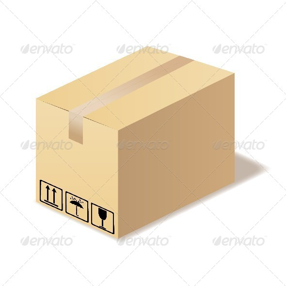 Closed Cardboard Box Isolated - Man-made Objects Objects