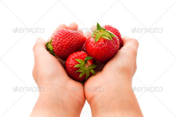 handful of strawberries - Stock Photo - Images