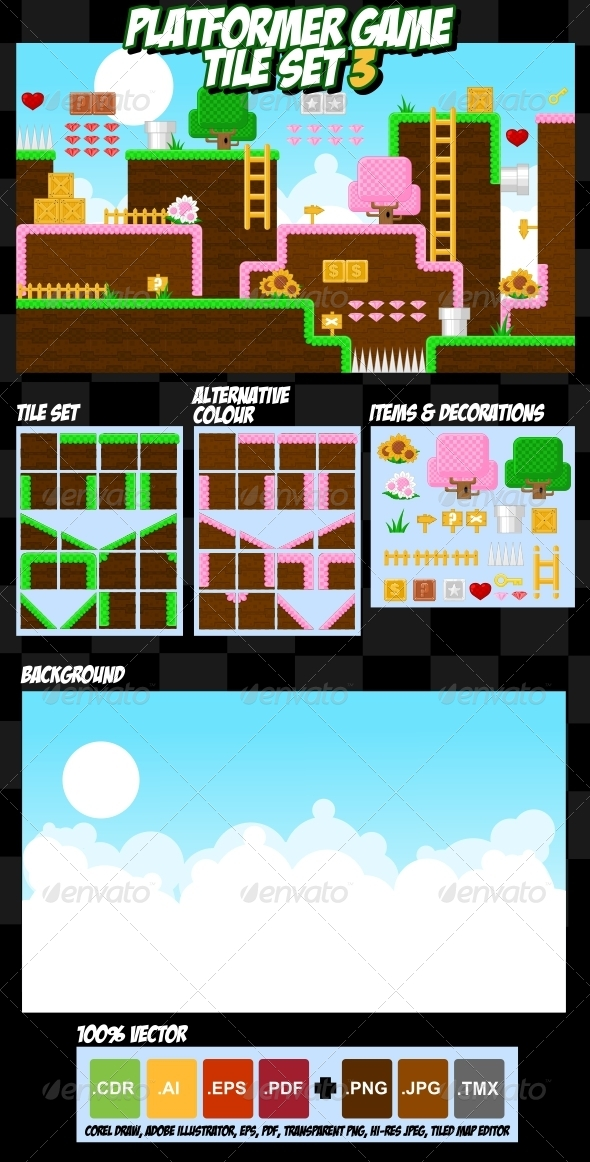 Platformer Game Tile Set 3 - Tilesets Game Assets