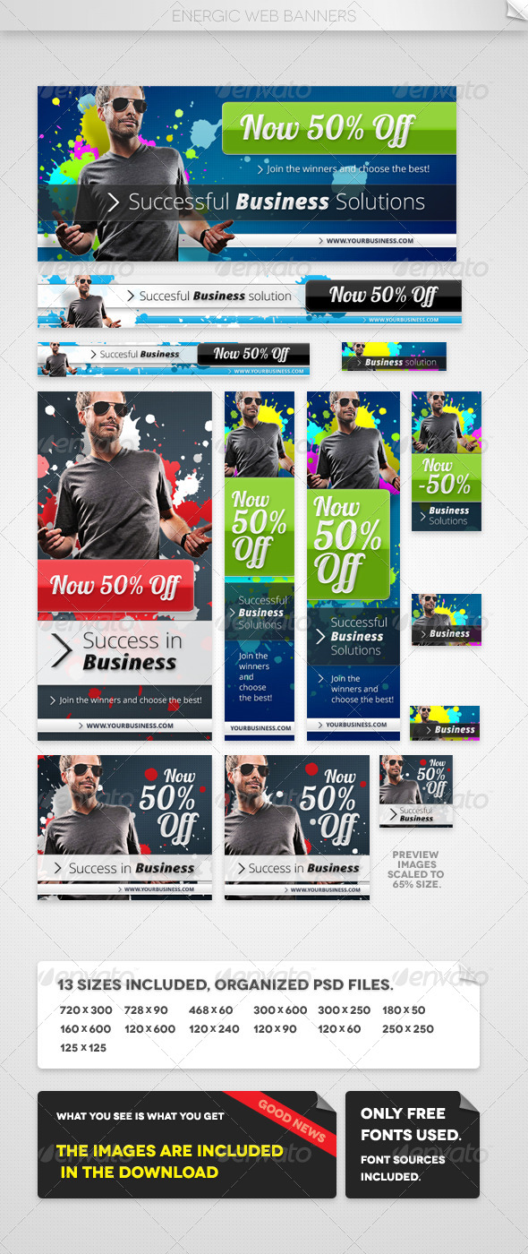 Energic Web Banners - Banners & Ads Web Elements