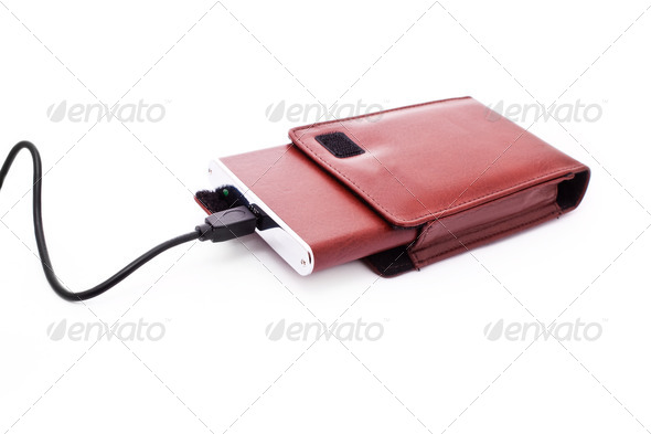 external hdd in leather case - Stock Photo - Images