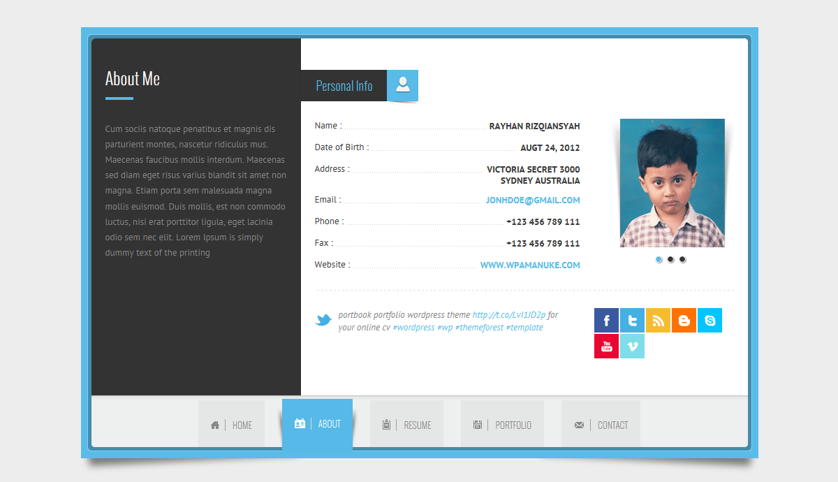 Beautiful Rayhan   HTML Resume Template CV Vcard Within Resume Html Template