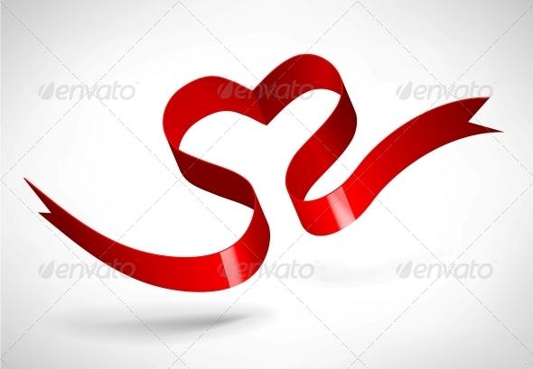 Red Heart Ribbon - Valentines Seasons/Holidays