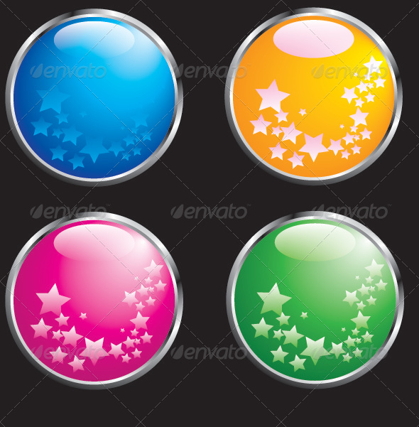 Four Glass Beads with Chrome Border - Objects Vectors