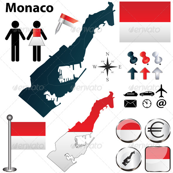 Map of Monaco - Travel Conceptual