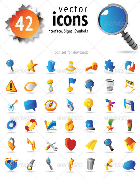 Vector Icons for Interface, Signs and Symbols - Icons