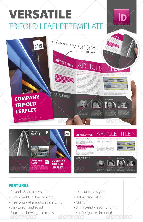 Versatile Trifold Leaflet Template - Corporate Brochures