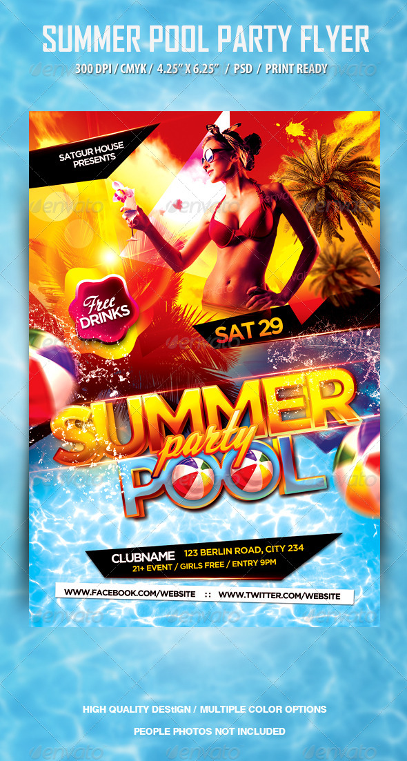 pool and beach summer party flyer by satgur graphicriver