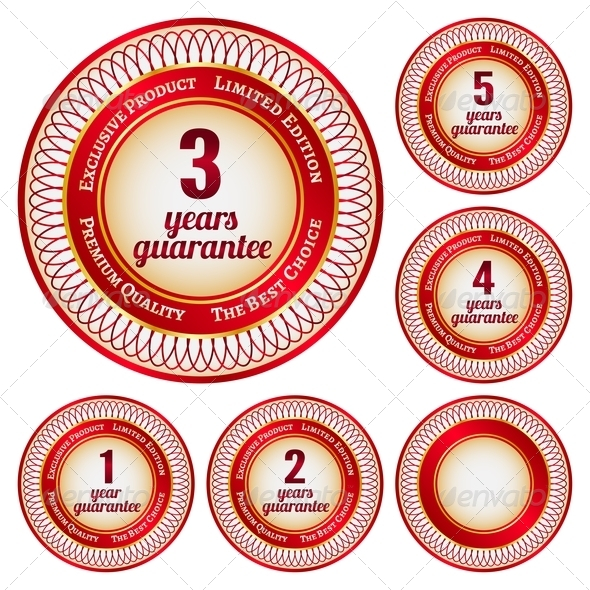 Labels From 1 To 5 Years Guarantee - Retail Commercial / Shopping