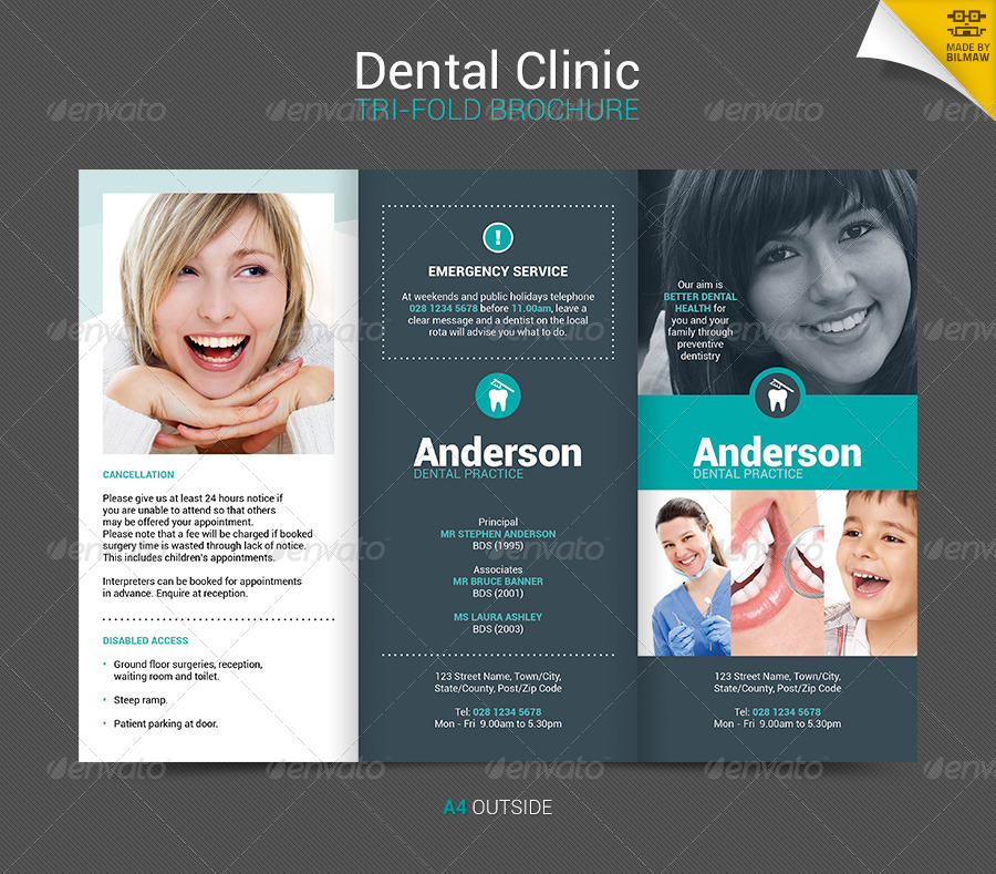 Dental Clinic Tri Fold Brochure By Bilmaw Graphicriver