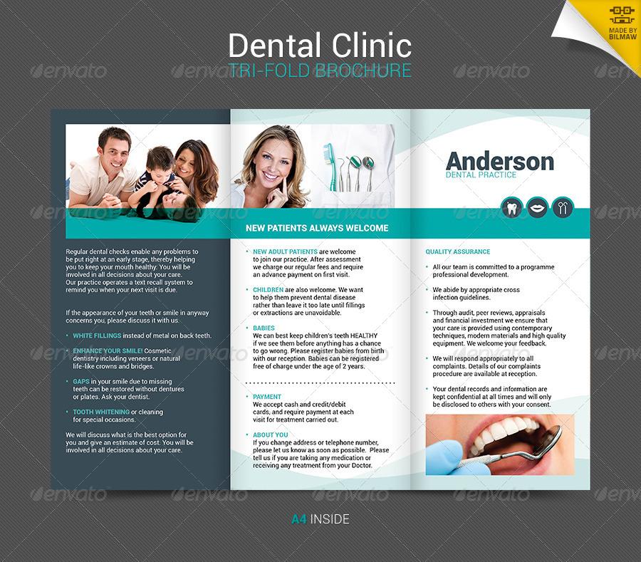 Dental Clinic Tri Fold Brochure By Bilmaw GraphicRiver