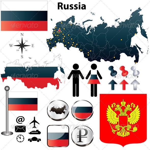 Russia Map - Travel Conceptual