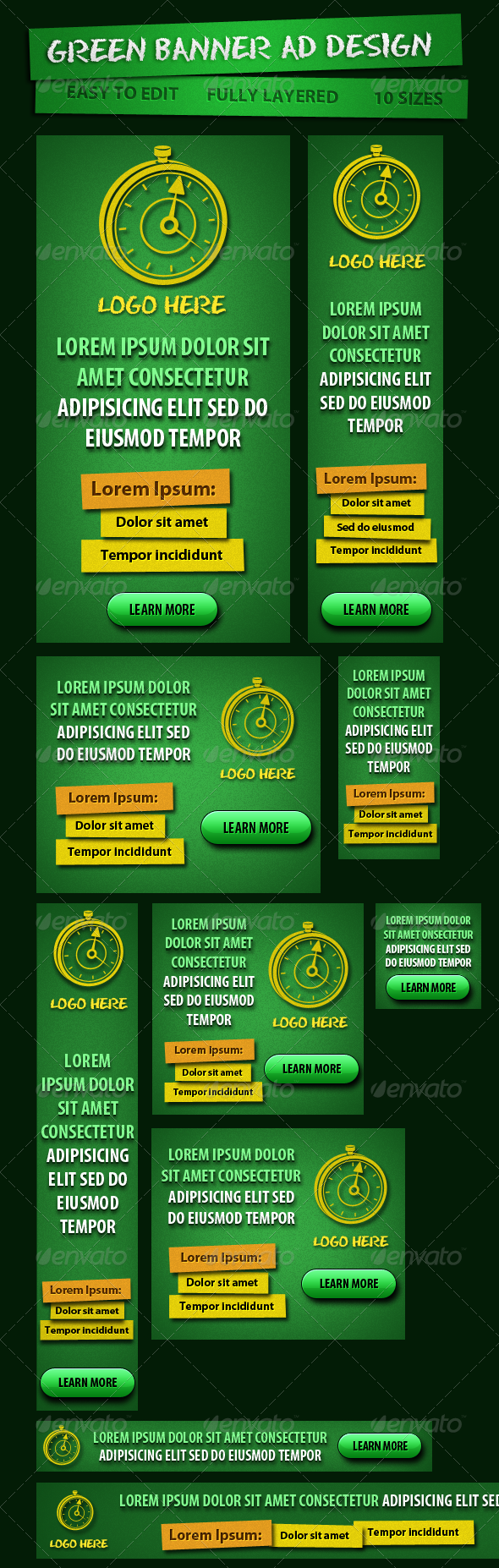 Green Banner ad for Campaign - Banners & Ads Web Elements