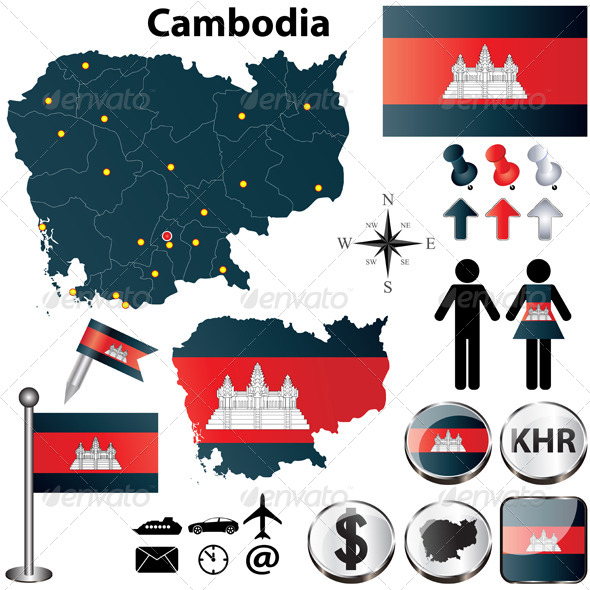 Map of Cambodia - Travel Conceptual