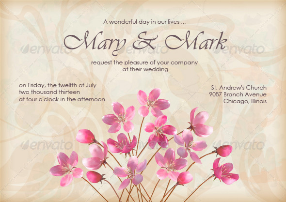 Floral Decorative Wedding or Invitation Design - Weddings Seasons/Holidays
