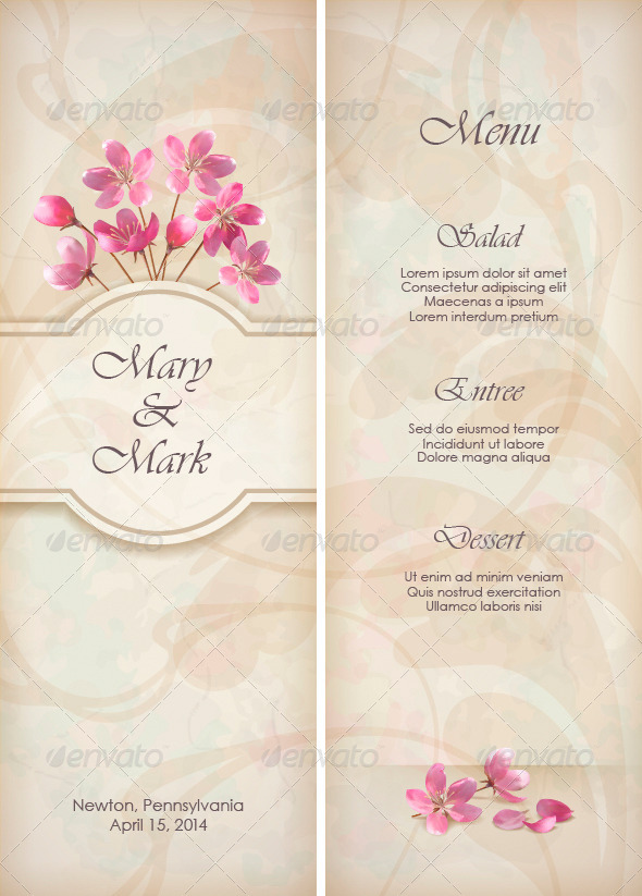Floral Decorative Wedding Menu Template Design By Kostins  Graphicriver
