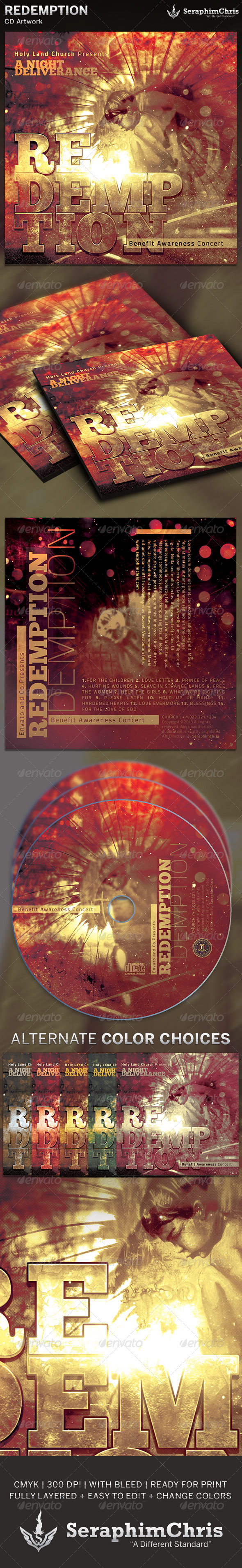 Redemption Benefit Concert: CD Artwork Template - CD & DVD Artwork Print Templates