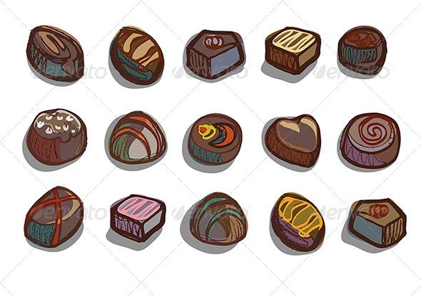 Chocolate Box Chocolates - Food Objects