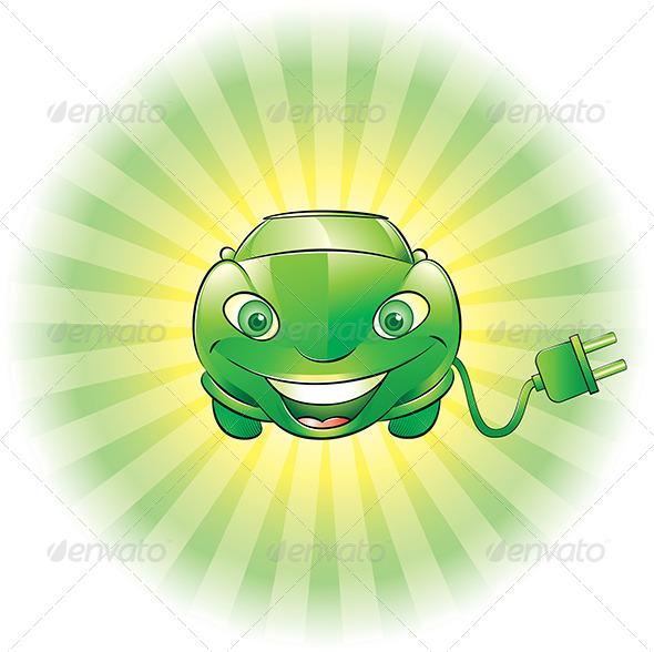 Electric Car Mascot - Characters Vectors