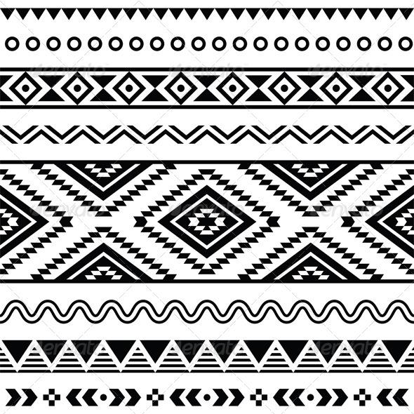 Tribal Seamless Pattern, Aztecb Black and White  - Patterns Decorative